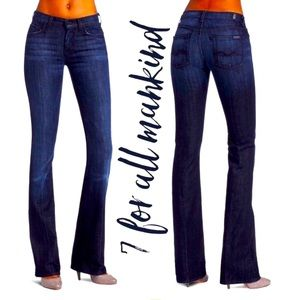 7 for all mankind kimmy bootcut dark washed stretch jeans size 28